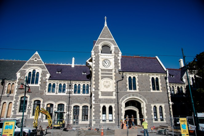This is the former canterbury university, the very first building uni was hosted in. Damaged in the earthquake, reconstruction efforts aim to have certain schools back here soon.