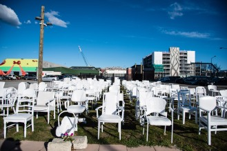 The 185 chairs memorial commemorates those lost in the 2011 Earthquake.